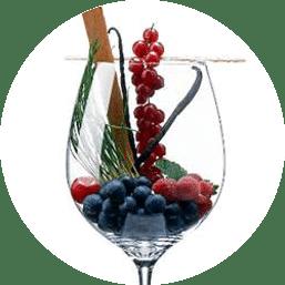 Merlot-Trauben und Wein-Geschmack